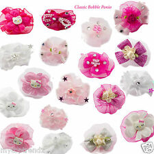 Girls Pretty Hair Bobbles Bow Chiffon Satin Flower Cute Pretty Soft Baby Ponio