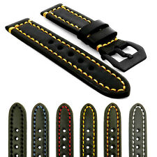 StrapsCo Black Vintage Watch Band Strap Contrast Stitching w/ Black Pre Buckle