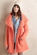 Anthropologie Boiled Wool Sweater Coat Sz L, Coral Pink Hooded Sweater By Moth