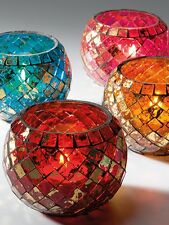 Moroccan Mosaic Glass Tea light Candle Holder Tealight in 4 Colours
