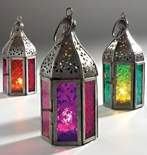 Moroccan Style Mini Lantern Tea light Candle Holder Teal blue, Purple or Red