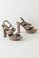 Anthropologie Double Knotted Heels 38 & 40, Neutral Suede Platform Miss Albright