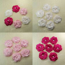 40 Satin Flower Pearl Bead Sewing Applique 35mm 3Colors Hair Bows Hairband Craft