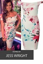 New Womens Jess Wright Cream Floral Print Bardot Off shoulder Bodycon Midi Dress