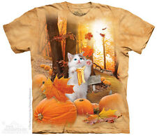 Fall Kitty T-Shirt by The Mountain. Pumpkin Fantasy Tee Sizes S-5XL NEW