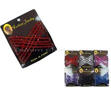 6pcs Colorful Stretchy Beaded Magic Hair Combs Double Clips Claw Butterfly Lots