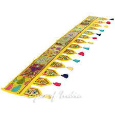 """78"""" YELLOW PATCHWORK WINDOW DOOR VALANCE WALL HANGING TAPESTRY Bohemian Indian"""
