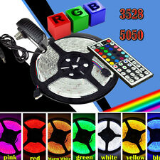 5M 3528 5050 RGB SMD Flexible LED Strip Light+ 44key Remote+ 12V Power Supply