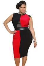 Plus Size Black and Red Sleeveless Midi Dress sexy women summer party dresses