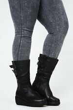 DSYC - Black 3/4 length Boots With Double Buckle & Stretch Panel EEE Fit