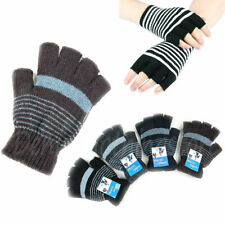 12pairs WARM MAGIC STRIPED FINGER LESS WINTER WARM KNITTED GLOVES WHOLESALE LOTS