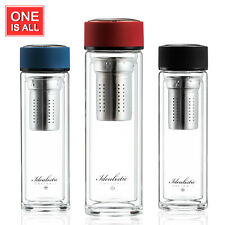 BPA Free Double Wall Glass Water Bottle Cup w/Stainless Steel Tea Infuser 320ml