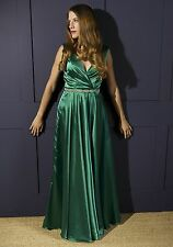 Womens Emerald Green Satin Evening Dress - Prom, formal bridesmaid gown UK 8 -20