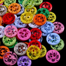 100pcs Mixed Flower Resin Buttons Sewing Scrapbook Cardmaking 2 Holes 14/17/22mm