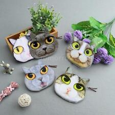 Cute Women Coin Purse Cat Animal Head Print Mini Wallet Small Clutch Bag T2B4