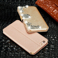 Luxury Leather Magnetic Diamonds Flip Wallet Stand Case Cover For Apple iPhone
