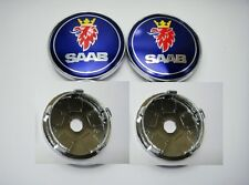 Set of 4 Blue Saab New Style Alloy Wheel Badges  Centre Caps 60mm  UK Seller