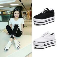 Women's High Top Lace Up Casual Platform Sneakers Creeper Canvas Athletic Shoes