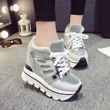 Womens Super High Platform Sneakers Wedge Heel Athletic Sport Lace Up Shoes Size