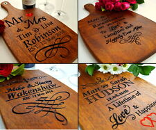 Personalised Engraved Wedding Gift Anniversary For Bride Groom Cutting Board