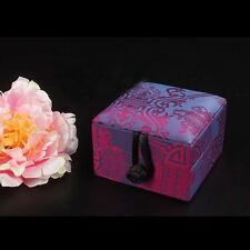 Chinese Handmade Vintage Brocade Square Jewelry Ring Storage Boxes Gift Boxes