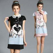 Womens Summer Embroidered Printing Short Sleeve Cocktail Mini Shift Dress L~ 5XL