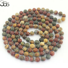 Natural 8MM Round Picasso Jasper Gemstone Beads Knot Strand Jewelry Necklace