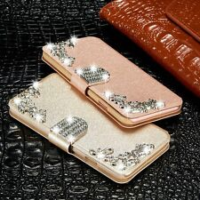 Bling Diamond Magnetic Flip Leather Case Stand Wallet Cover For Samsung iPhone