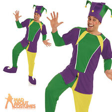 Adult Carnival Jester Costume Mens Medieval Circus Fancy Dress Outfit New