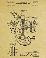Rotary Engine Patent Print Mechanic Gift Blueprint Decor Man Cave Wall Art