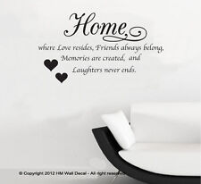 HM Wall Decal Wall Art NEW Home is Where Love Resides Wall Quote Decal