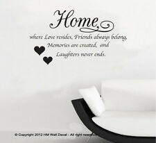 NEW Home is Where Love Resides Wall Quote Decal
