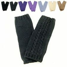 Unisex Fingerless Plain Color Long Warm Gloves w/ Cable Knitted Pattern NEW