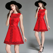 2016 Summer Vogue Womens Red Exquisite Embroidery Party Cocktail Slim Mini Dress