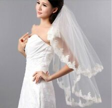New 2T Lace White/Ivory Wedding Bridal Accessories veil elbow Length with comb