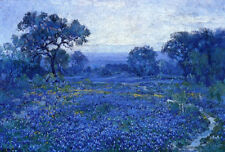 Handmade Julian Onderdonk Field of Bluebonnets Oil Painting repro on Canvas AN16
