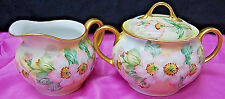 Handpainted Signed B. Hixson RS Germany Prussia Creamer & Sugar Wild Roses S6446