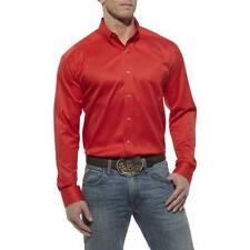 NEW! 10012200 Ariat Mens Solid Performance Twill Long Sleeve Western Shirt Berry