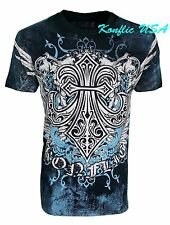 Konflic NWT Men's Giant Fleur De Lis with Wings Graphic MMA Muscle T-shirt