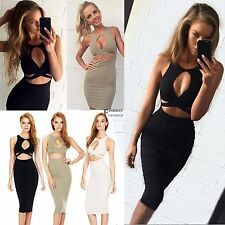 New Women Sexy Sleeveless Cut Out Bandage Bodycon Stretch Club Party Dress FNHB