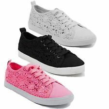 LADIES CROCHET CANVAS FLORAL SEQUINS MESH SNEAKERS PLIMSOLLS TRAINERS PUMPS