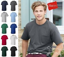 Hanes Mens Short Sleeve Blank Tagless Cotton T Shirt with Pocket 5590 Up to 3XL