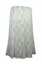 Anne Smith Elasticated Waist , Lined Stretch Off White Lace Skirt With Sequins