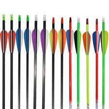 Archery Carbon Fiber Arrow Nocks Fletched Field Points Target Hunting Practice