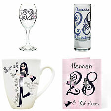 Personalised Fabulous Name & Age Birthday Gifts for Women 18th 21st 30th 40th 50