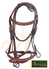 Leather Horse Bridle- Bridle Noseband & Browband Antislip Reins Black/Brown