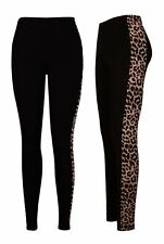 NEW WOMENS LADIES LEOPARD PRINT SIDE PANEL STRETCH FULL LENGTH LEGGINGS SIZE8-18