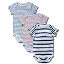3Pcs Newborn Baby Onesies Romper Layette Short Sleeve Striped Playsuit Clothes