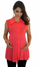 Coral Faux Button Maternity Blouse Womens Sleeveless Top S M L XL