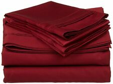 1500TC Branded Burgundy Solid 100% Egyptian Cotton Sheet Set Various Fit Pockets